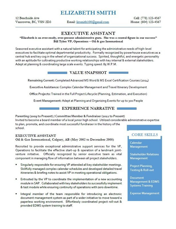 Calgary Resume Services - Executive Assistant Resume Sample