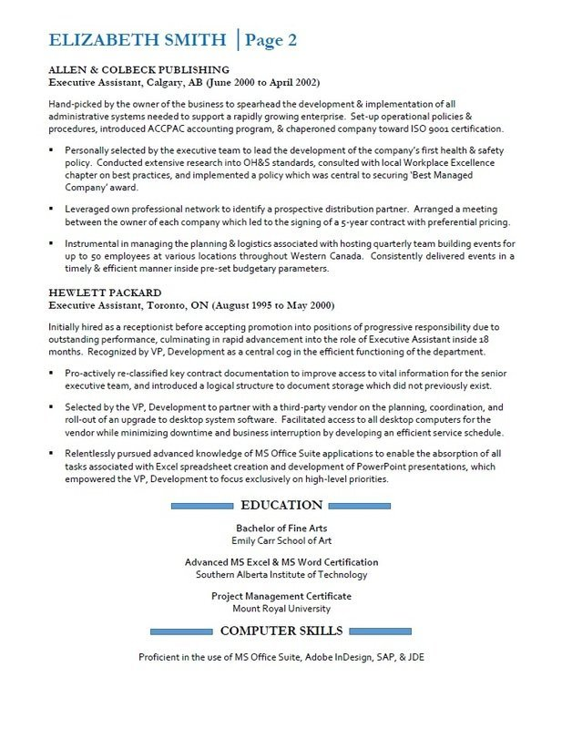 Resumes Services Calgary - Sample Executive Assistant Resume - Page 2