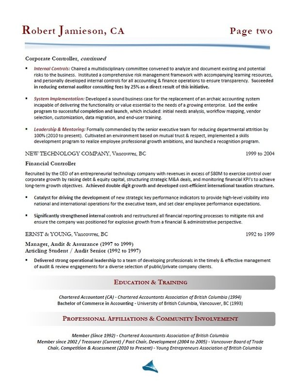 Calgary Resume Writing - Accountant / Controller Resume Sample