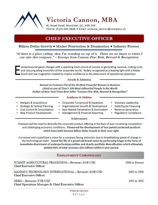 Award-Winning Executive Resumes Calgary - Executive Resume Sample